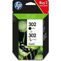 HP 302 original 2er-Pack Tinte schwarz, cyan, magenta, gelb - X4D37AE