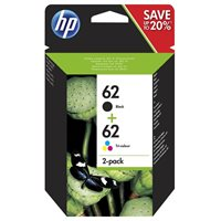 HP Original Tinte HP 62 2er-Pack Schwarz/Cyan/Magenta/Gelb - N9J71AE
